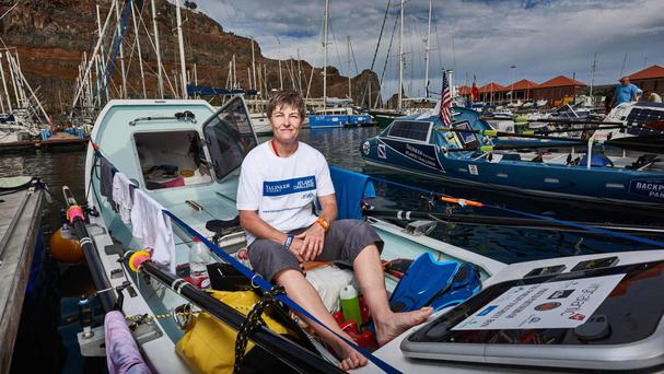 Elaine Hopley, Scottish solo rower, at the start line of the Talisker Whisky Atlantic Challenge.
