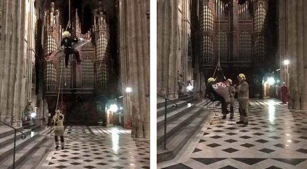 The dramatic rescue at Worcester Cathedral (Hereford and Worcester Fire and Rescue Service/PA)