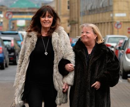 Actresses Vicki Michelle and Sue Hodge arrive for the funeral of 'Allo 'Allo star Gorden Kaye