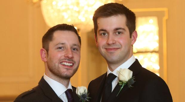 Gordon Aikman (left) at his wedding with Joe Pike