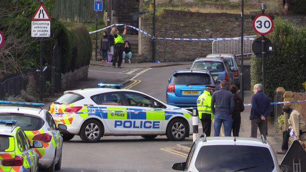 Police at the scene in Daniel Hill, Sheffield after a man was found with a suspected gunshot wound to his chest.