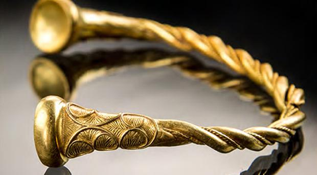 One of the gold torcs which was discovered on Staffordshire farmland by Joe Kania and Mark Hambleton (Staffordshire Council/PA)