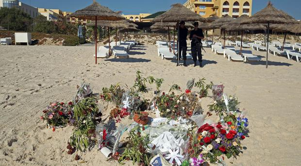 Flowers at the scene of the massacre