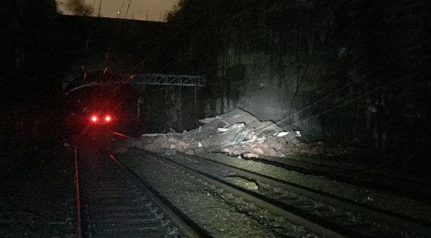 Debris was strewn across four lines outside Liverpool's Lime Street station on Tuesday (Network Rail/PA)