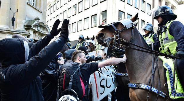 Mounted officers have been called in to help police the event in Bristol