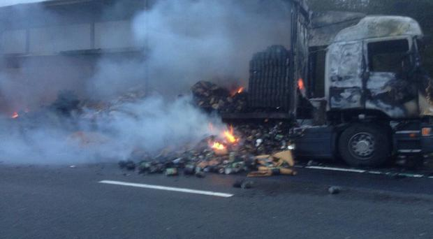 A lorry fire on the M6 forced the closure of the motorway (Picture: @CMPG)