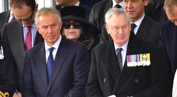 Former prime minister Tony Blair, left, and the Duke of Gloucester attending a Military Drumhead Service on Horse Guards Parade in London, ahead of the unveiling of the memorial