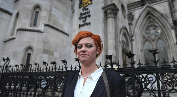 Writer Jack Monroe outside the High Court in central London, where she is suing Katie Hopkins
