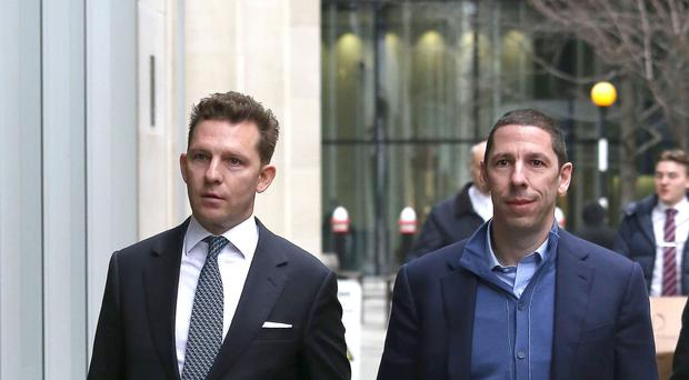 Nick (left) and Christian Candy arrive at the Rolls Building in London