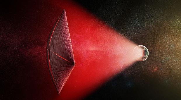 Handout from the Harvard-Smithsonian Center for Astrophysics of a light-sail powered by a radio beam (red) generated on the surface of a planet (Artist's illustration/PA)