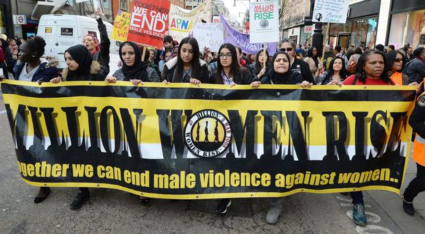 Protesters at the 10th annual Million Women Rise march in Oxford Street, London