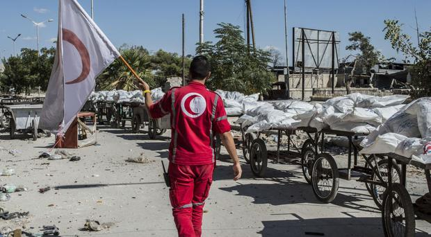 Food being delivered for children in the Eastern part of Aleppo