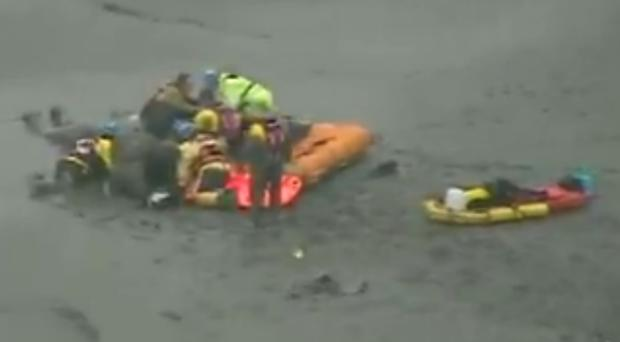Screengrab of the video showing the rescue (Maritime and Coastguard Agency/PA)