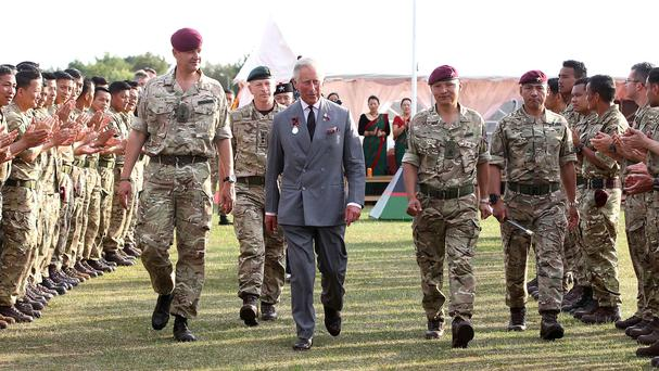The Prince of Wales during a visit to 2nd Battalion The Royal Gurkha Rifles