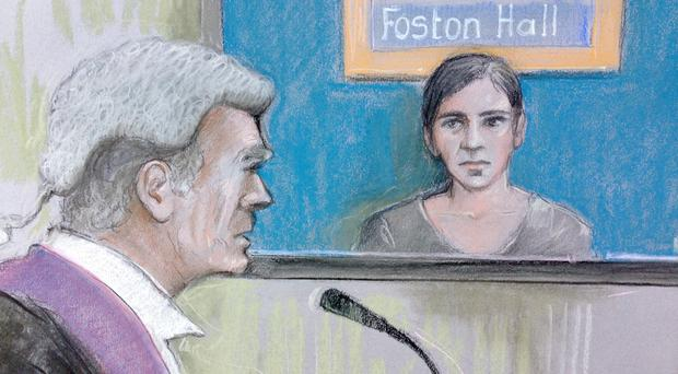 Court artist sketch by Elizabeth Cook of Lauren Jeska appearing by video link at Birmingham Crown Court, where she admitted the attempted murder of a British Athletics official and assaults on two other men who stepped in to help him