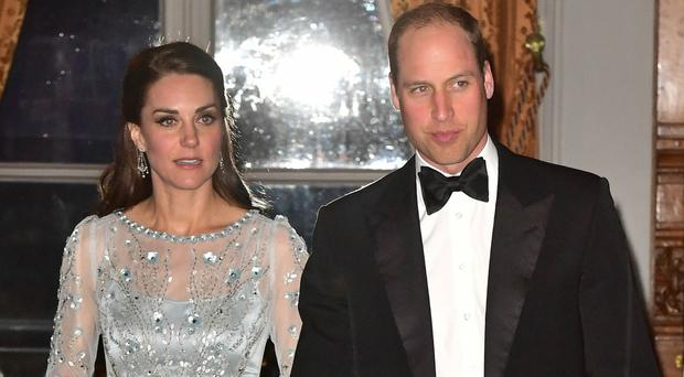 The Duke and Duchess of Cambridge arrive for a dinner at the British embassy in Paris
