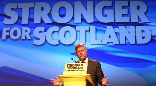 Economy Secretary Keith Brown speaking at the SNP spring conference in Aberdeen