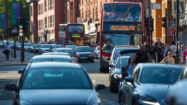 Queuing traffic in London, as four Commons committees plan to scrutinise revised Government plans to tackle air pollution