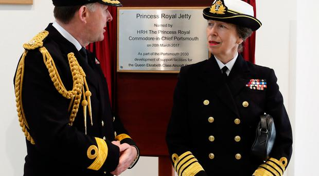 The Princess Royal at the ceremony at Portsmouth Naval Base yesterday