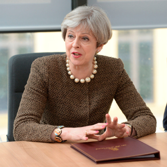 Prime Minister Theresa May meeting Welsh leaders in Swansea yesterday