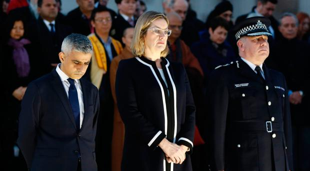 London Mayor Sadiq Khan, Home Secretary Amber Rudd and Acting Commissioner of the Metropolitan Police Service Craig Mackey lead the vigil