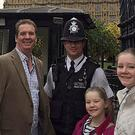 Australian Andrew Thorogood and daughters Alexsandra and Georgia with Pc Keith Palmer in October last year (Handout/PA)