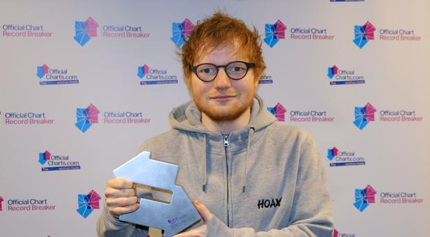 Ed Sheeran has held on to number one spot in the singles chart