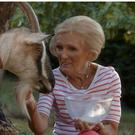 Mary Berry gets to grips with milking a goat (BBC/PA)