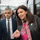 London mayor, Sadiq Khan is met by his Paris counterpart, Anne Hidalgo at Gare du Nord in the French capital as he arrived from Brussels during his three day visit to the European cities where he will meet EU leaders and officials to talk about Brexit and the recent terror attack in London.