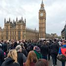 The vigil on Westminster Bridge in central London