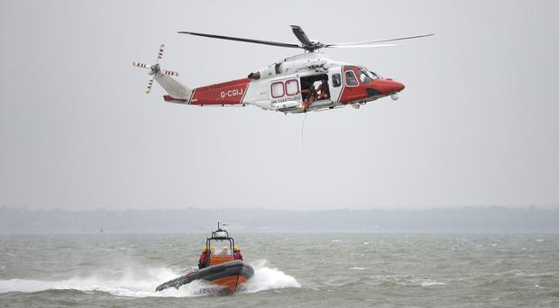 A search and rescue operation was mounted by the coastguard including helicopters and lifeboats