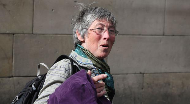 Carol Rohan Beyts arrives at Edinburgh Sheriff Court