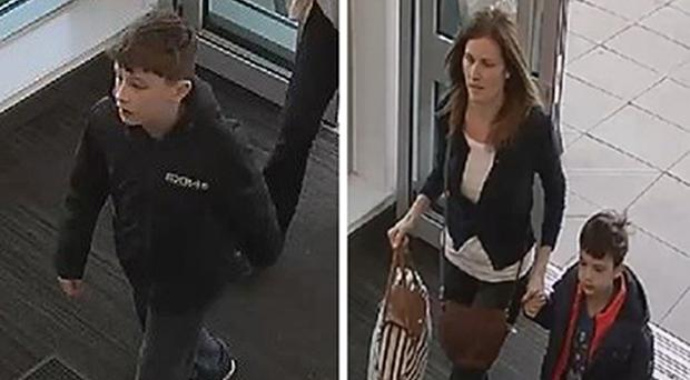 CCTV images issued by police in the search for Louis Madge (left), his mother, Samantha Baldwin, and younger brother Dylan Madge (Nottinghamshire Police/PA)