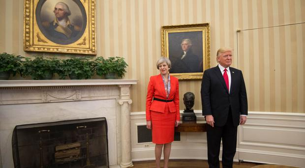 Prime Minister Theresa May with US President Donald Trump in the Oval Office of the White House.