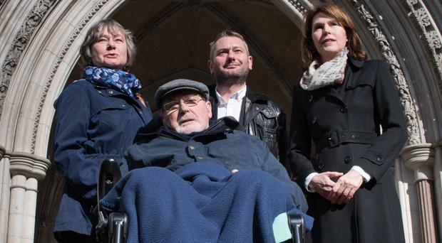 Noel Conway, with his family and supporters, is fighting for changes to the law on assisted dying