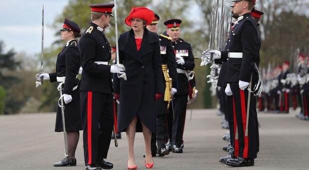 Prime Minister Theresa May represents the Queen at the Sovereign's Parade at the Royal Military Academy, Sandhurst