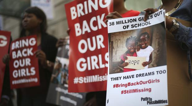 A protest calling for the return of the girls