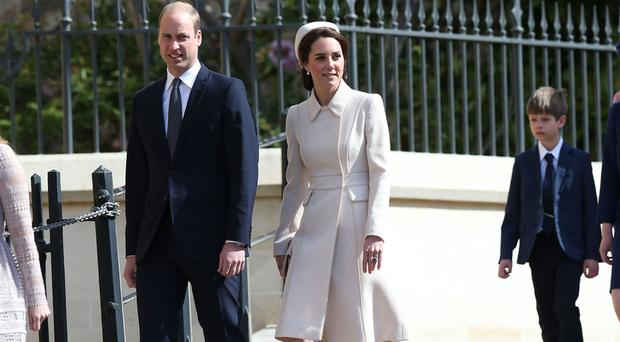 The Duke and Duchess of Cambridge arrive for the Easter Sunday service at St George's Chapel at Windsor Castle