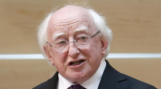 Ireland's President Michael D Higgins attended the Easter Rising service