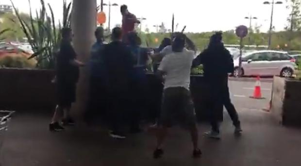 A screengrab from footage of the brawl at Bluewater (The Hunted One/Facebook/PA)