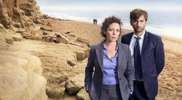 David Tennant and Olivia Colman as Detective Inspector Alec Hardy and Detective Sergeant Ellie Miller in Broadchurch