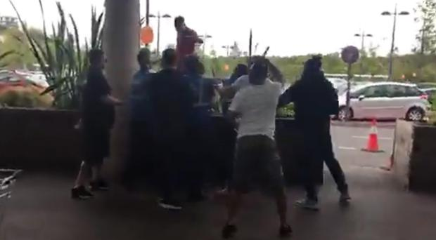 A brawl that erupted at a shopping centre after vigilante group