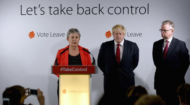 Gisela Stuart with fellow Brexiteers Boris Johnson and Michael Gove after victory for the Leave camp