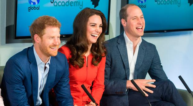 Prince William, Catherine, Duchess of Cambridge and Prince Harry at the opening of The Global Academy in support of Heads Together