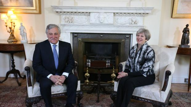 European Parliament President Antonio Tajani talking to Prime Minister Theresa May at a meeting in 10 Downing Street, London.