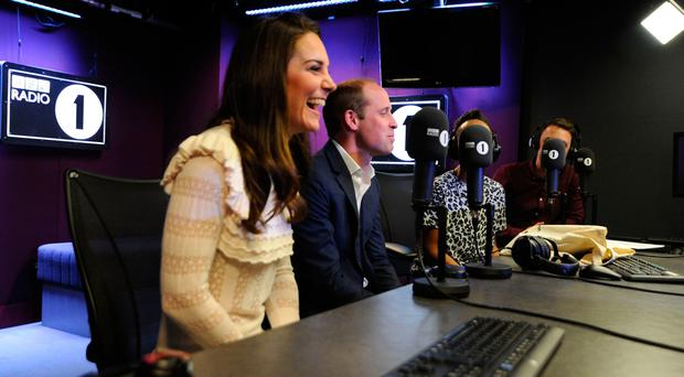 The Duke and Duchess of Cambridge visiting BBC Radio 1 where the couple promoted their Heads Together mental health campaign