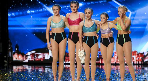 Alesha Dixon pushed the coveted golden buzzer for five-piece group Just Us (Syco/Thames ITV/PA)