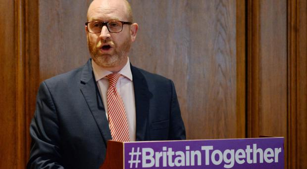 Ukip leader Paul Nuttall during his party's policy announcement at Marriott County Hall in central London
