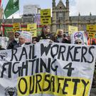 A protest by the RMT union in Westminster, London,