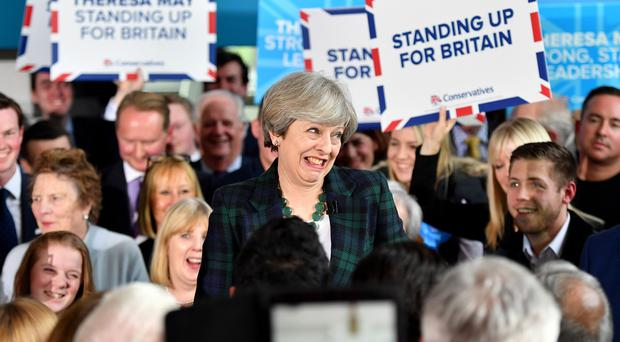 Theresa May speaks at the Shine Centre in Leeds (Anthony Devlin/PA)
